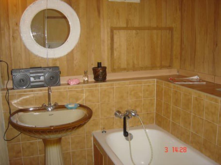 grande salle de bain avec baignoire et douche (wc indépendant)