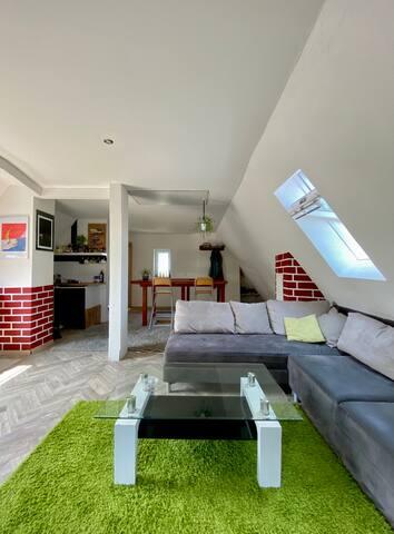 Central, artistic & cozy 50 m² roof studio