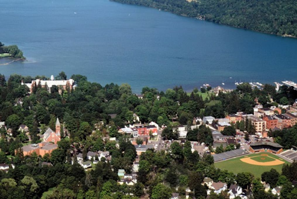 Beautiful, historic Village of Cooperstown on the south shore of Otsego Lake in New York State