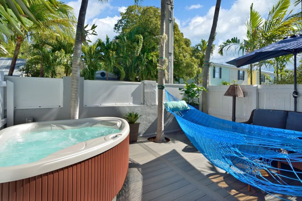 Or lay around in the hammock that can stretch across your deck