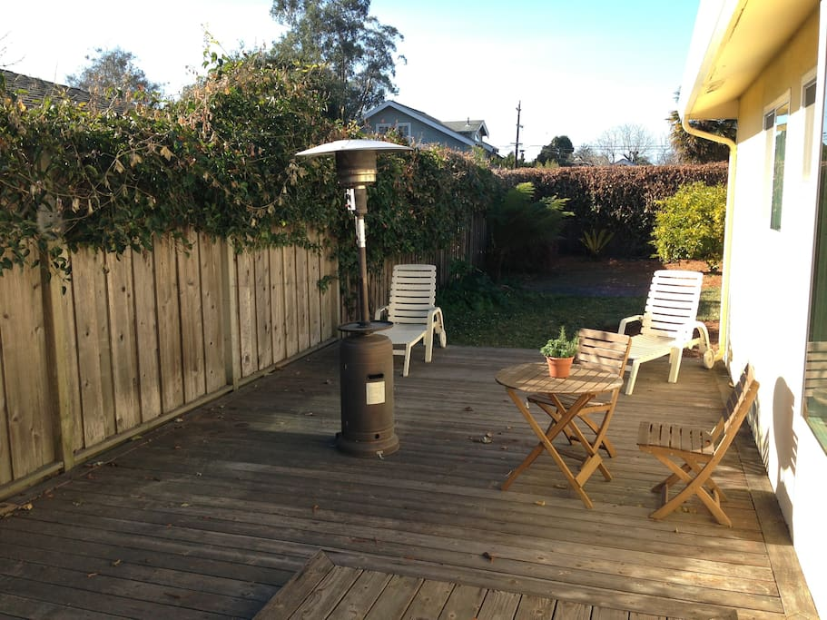Backyard deck; warm and sunny a lot of the time