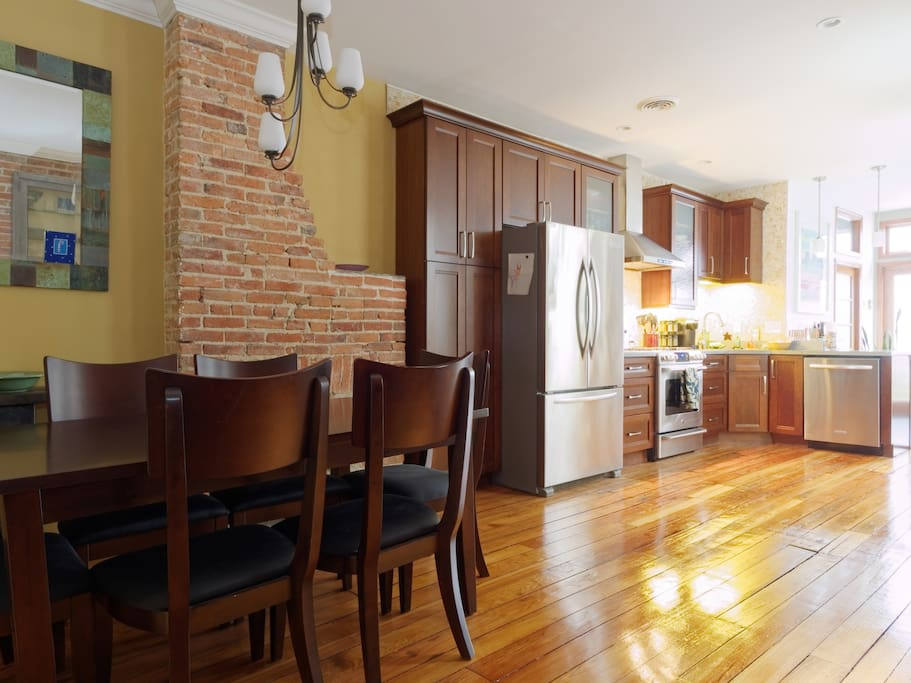 Dining room and bright, spacious kitchen
