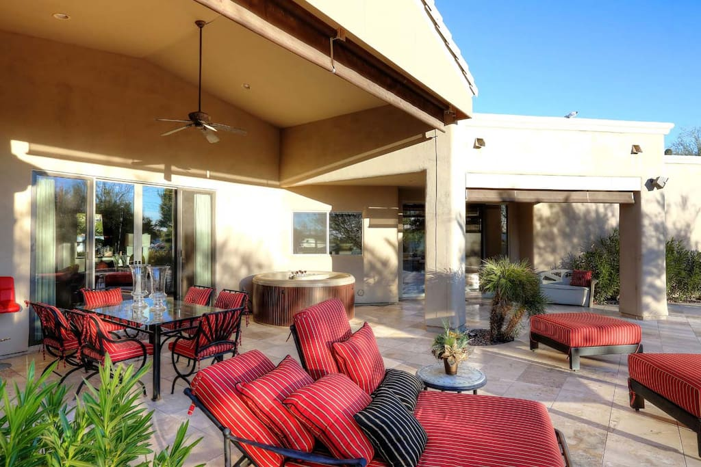 Outdoor living doubles the living space! (2) Tables seating 6, plentiful chaise lounges to enjoy the beautiful sunset views!