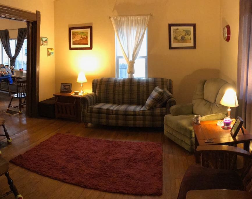 Shared living room with pullout couch and television.