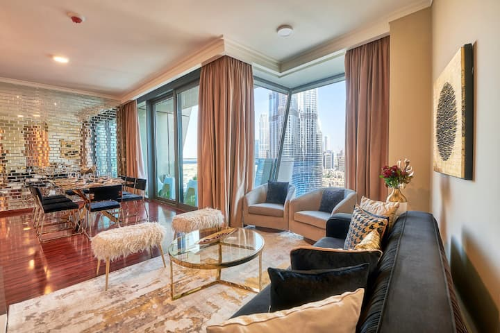 Gold Mirror Burj Khalifa & Fountain Designer 3 Bed