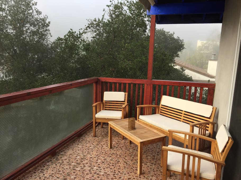 Patio seating on a misty morning. Perfect with a steaming cuppa...