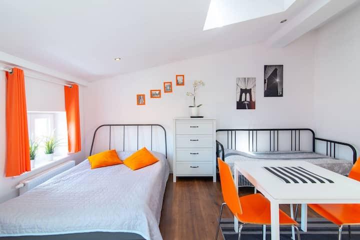 Orange apartment in the center of Poznań