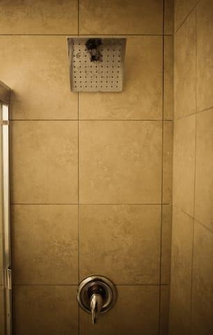 Shower with rainhead faucet.