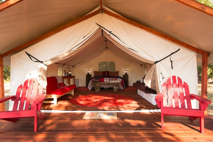 Glamping tent~wood heat~Prof. disinfected~Private