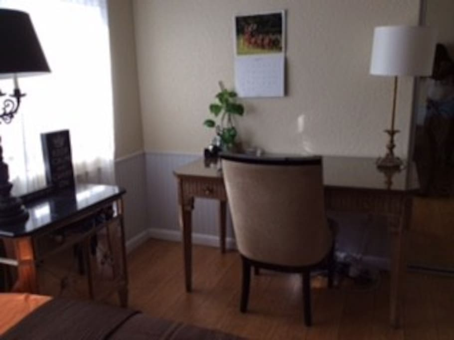 comfortable room with writing desk