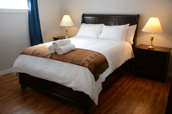 Private lower level room, queen bed, full bath