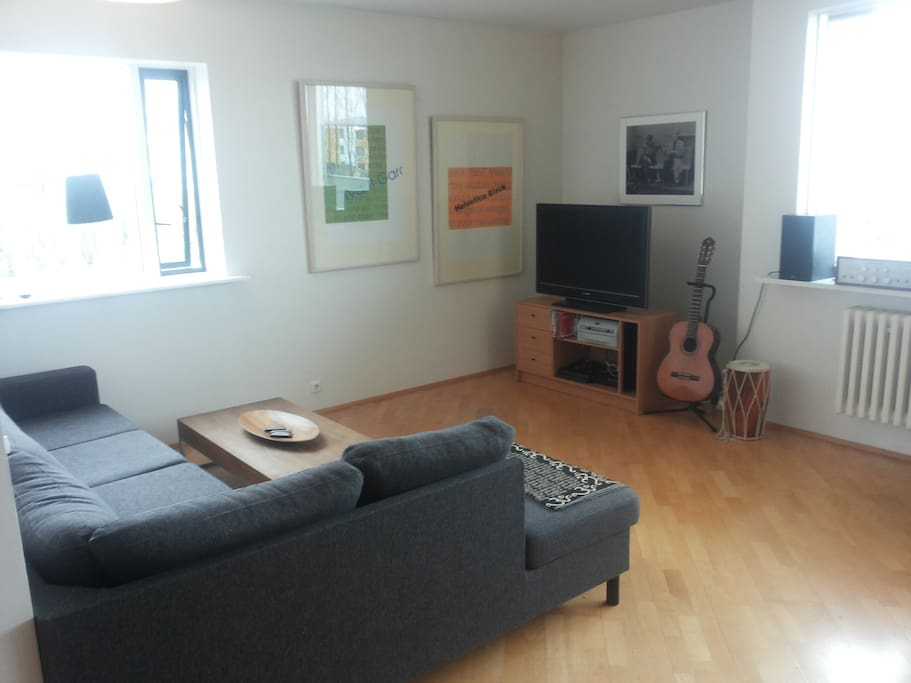 Very spacious living room, large couch, TV, PlayStation, guitar.