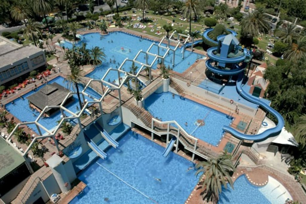The pools of the apartment complex
