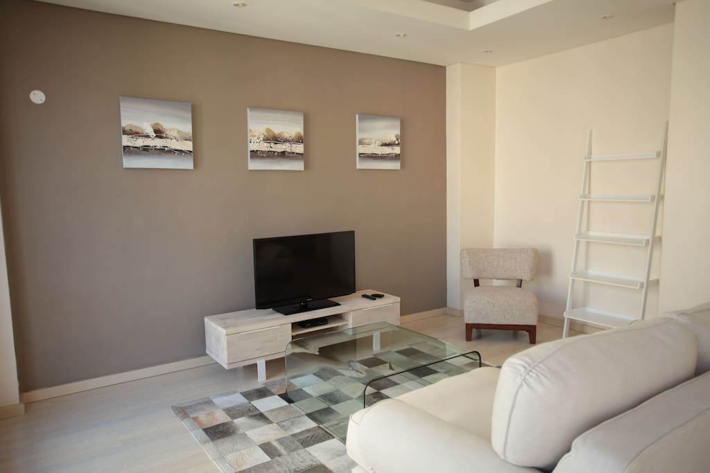 african animal skin rug giving a luxury feel to the apartment