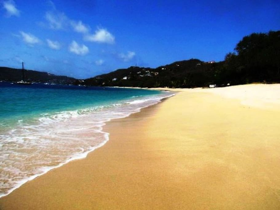 The soft sands of Lower Bay & the Caribbean Sea, less than a minute from your room.