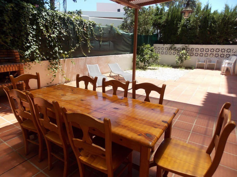 Terrace with grill and dining table