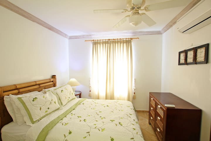 Second bedroom with a full bed, ceiling fan and A/C