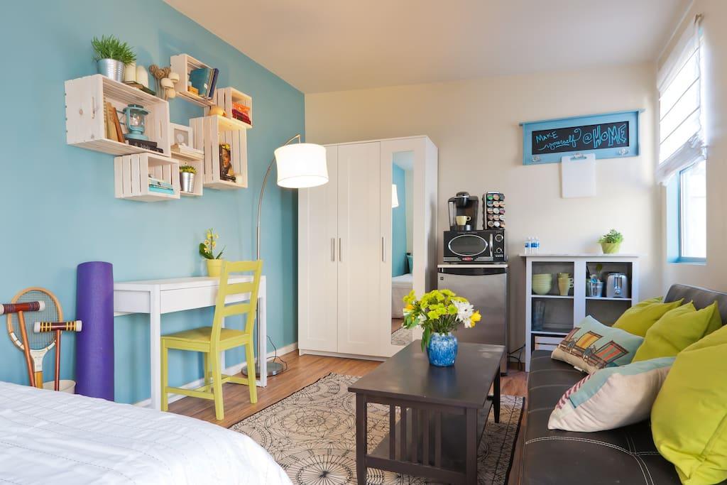 Sunny and cozy one-room private studio.