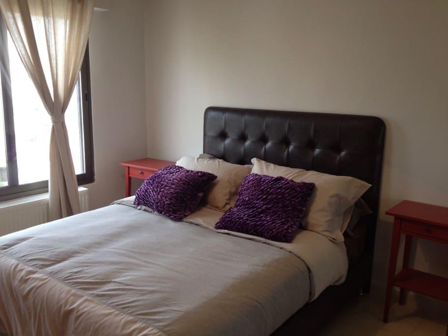 Classy queen size bed room