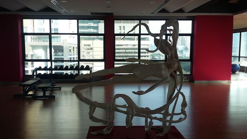 Modern art sculpture in Gym