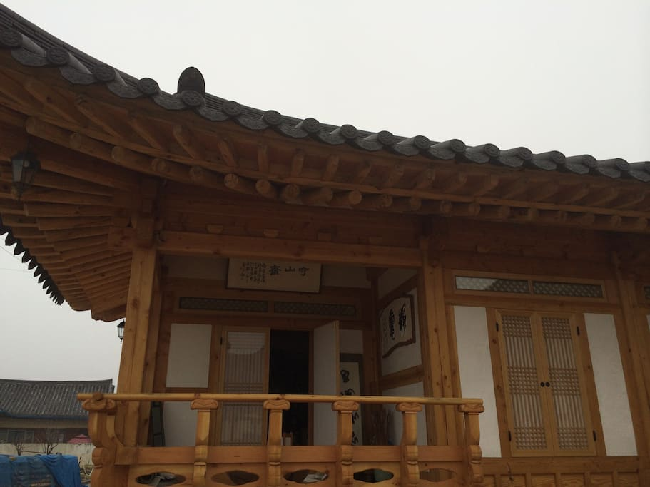 Korean traditional house! It made of fine tree wood, soil. It was completed in december 2014.