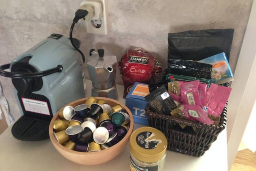 Free use of nespresso, Italian Coffee Maker, different kind of teas