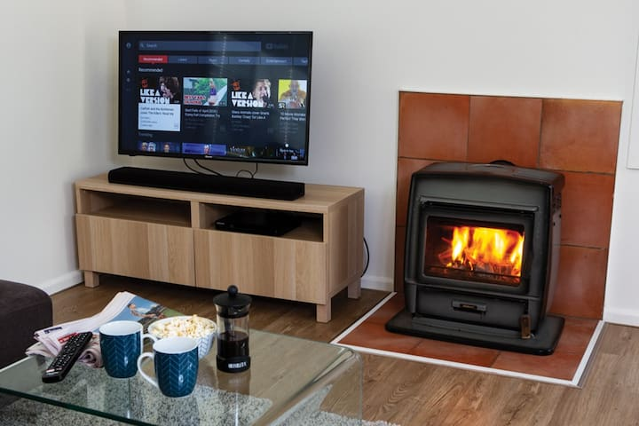 If the weather is cold & rainy - kick back with the fire on and check out some stuff on Netflix or Youtube on the SmartTV. Free unlimited wifi makes for some quality bingeing!