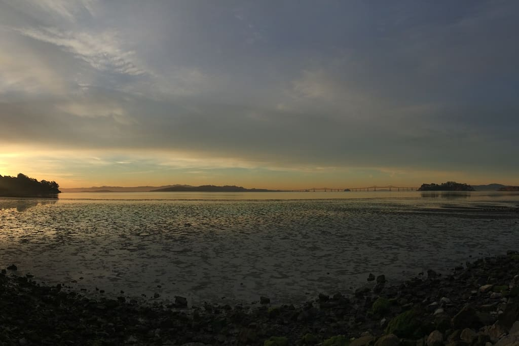 Panoramic view of the Bay, a short walk from the home