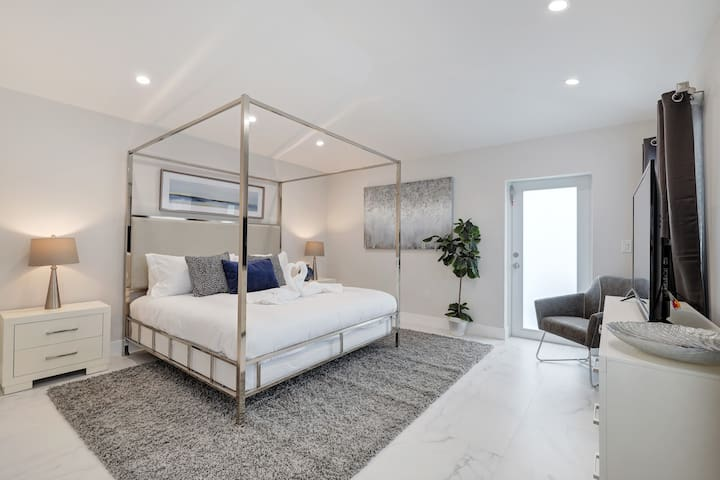 Spacious master bedroom with large, gorgeous attached bath.