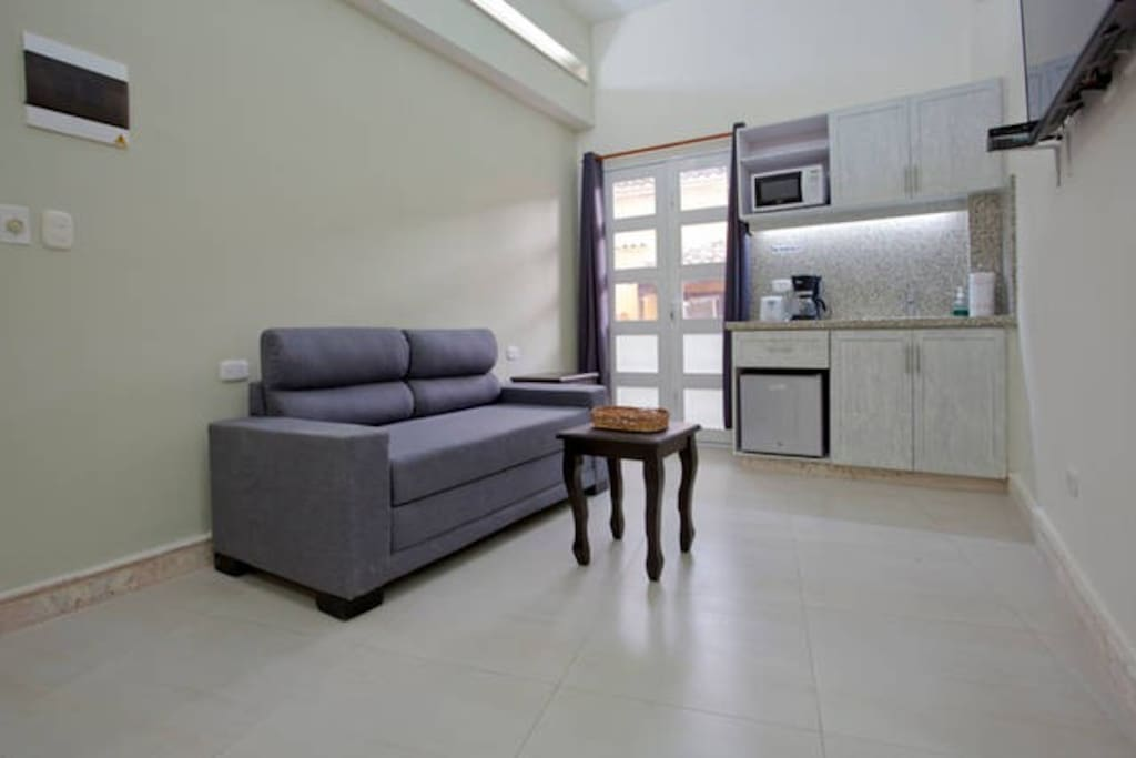 Living area with mini kitchen, sofa-bed, bathroom and window to balcony.