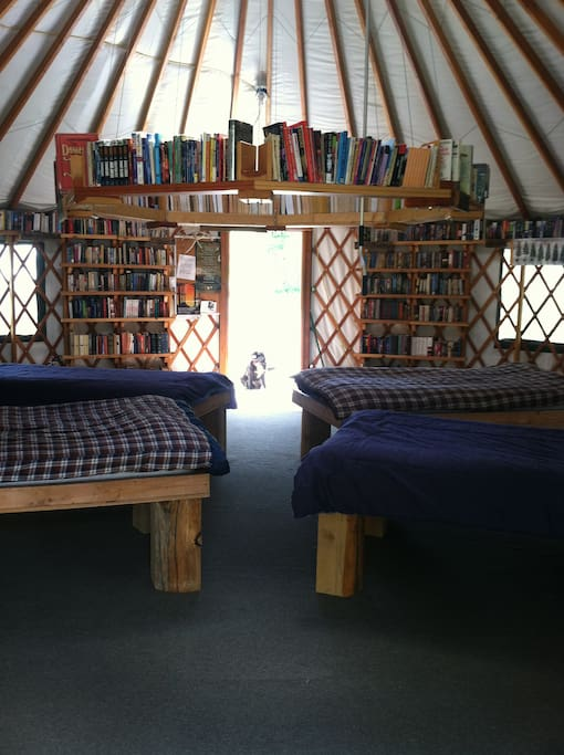 4 twin beds with mattresses