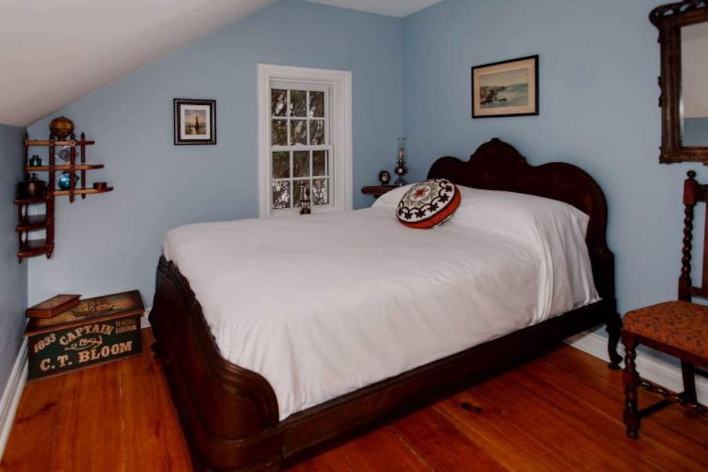 The Tiny Blue Room has a very comfy double bed, deep sills and closet.
