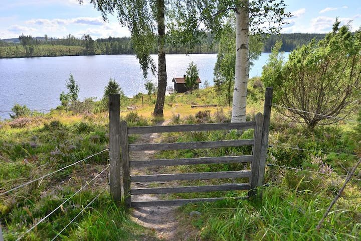 The gate down to the sauna and the lake, Lambitjärn.