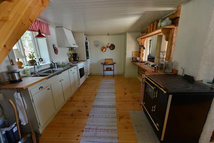 The kitchen area.