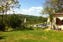 The garden, the swimming pool, a bit of our wonderful view...