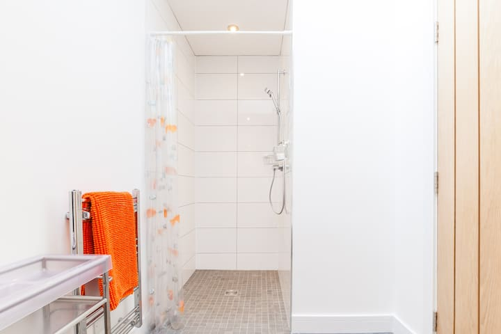Walk in shower and heated towel rail