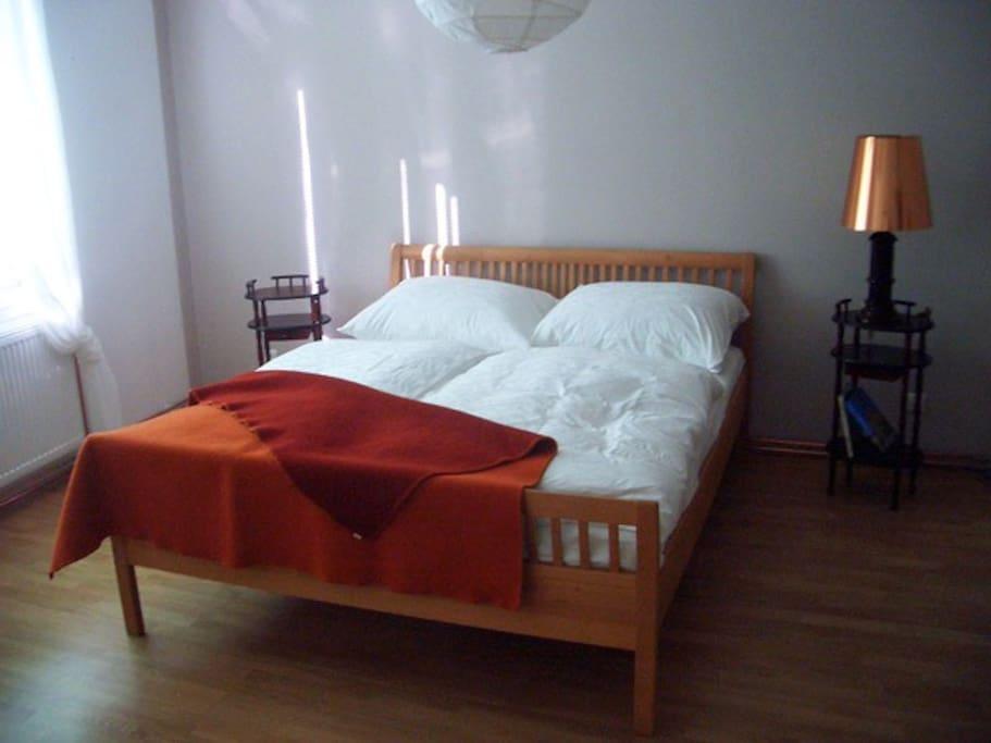 Großzügiges Schlafzimmer mit allergiefreiem Doppelbett