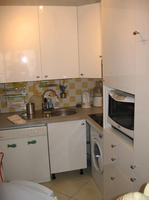 La cuisine avec ses équipements hors frigo.