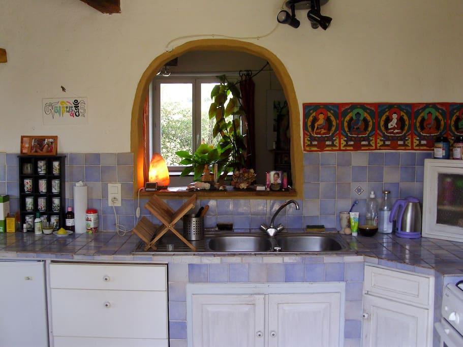 cuisine avec vue sur le salon