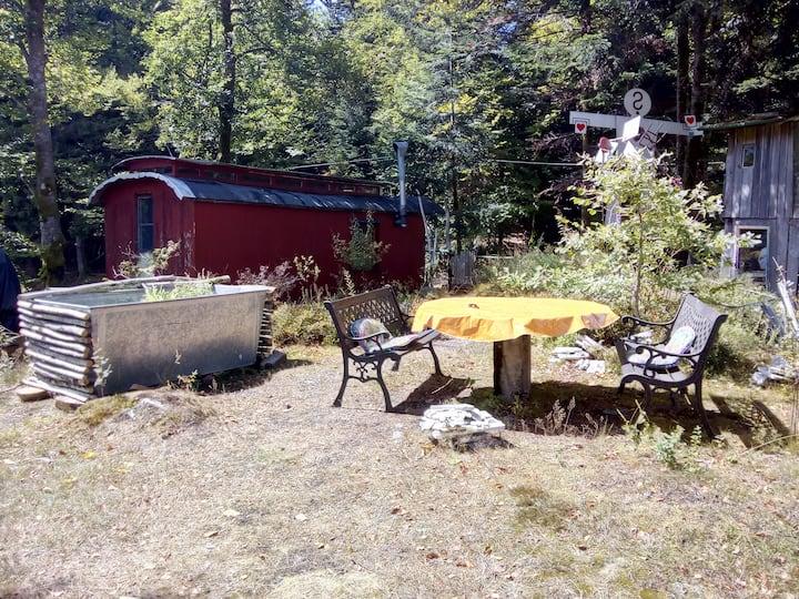 Hütte, Bauwagen, an einem Naturweiher gelegen