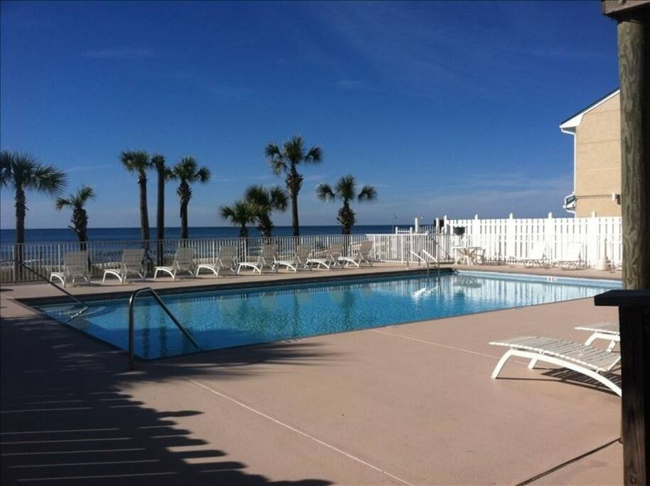 Gulf Highlands Beach Resort pool located on the beach as you walk by the clubhouse