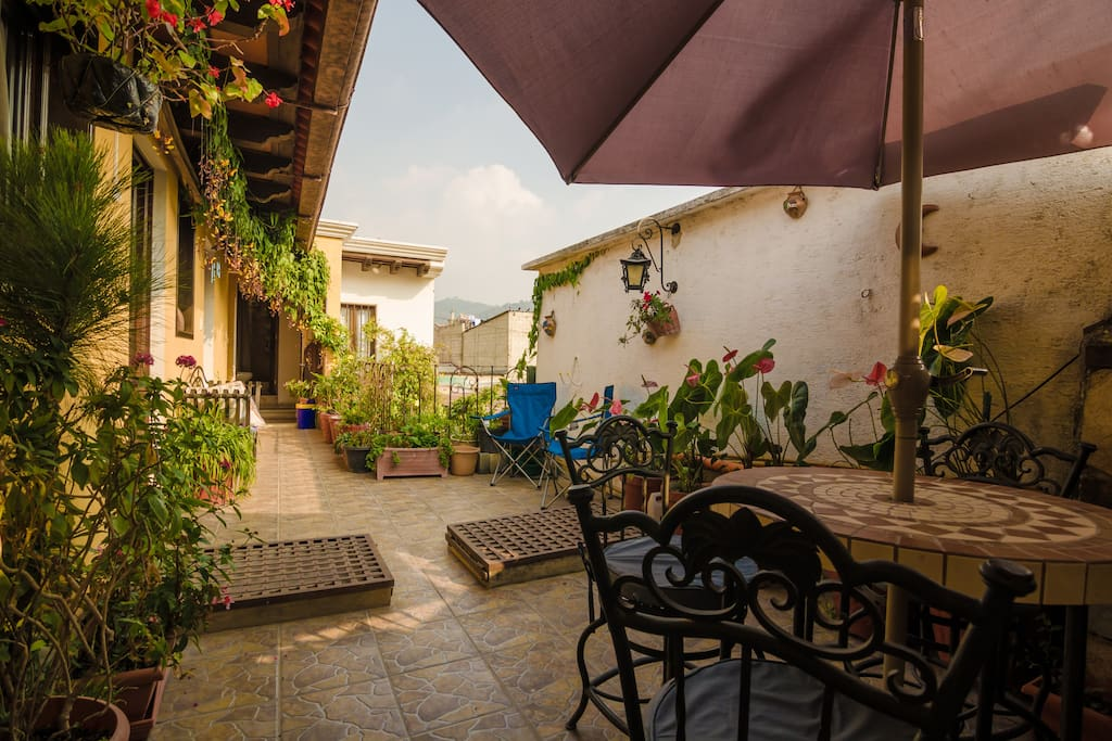 A beautiful terrace where you can sit, relax or even work and when the weather is good.