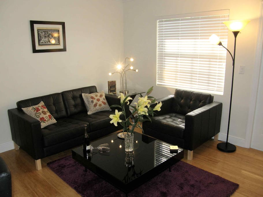 The apartment has new hardwood floors, comfortable leather sofas. The walls have a selection of papyrus paintings.
