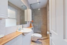Our modern bathroom with amazing power shower