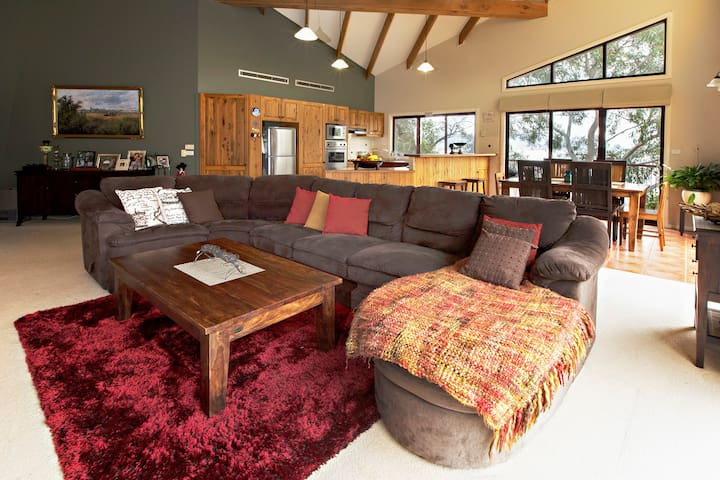 Spacious living area with cathederal ceilings