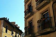 Spanish typical wrought iron balconies. Balcones típicos de hierro forjado.