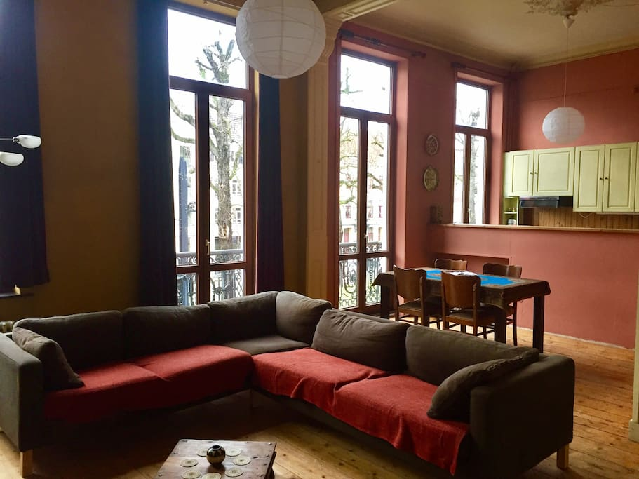 Living room with view on open kitchen