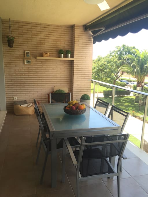 15 square meters balcony/terrace, south facing,  quiet avenue.ceiling fan/light with control remote.