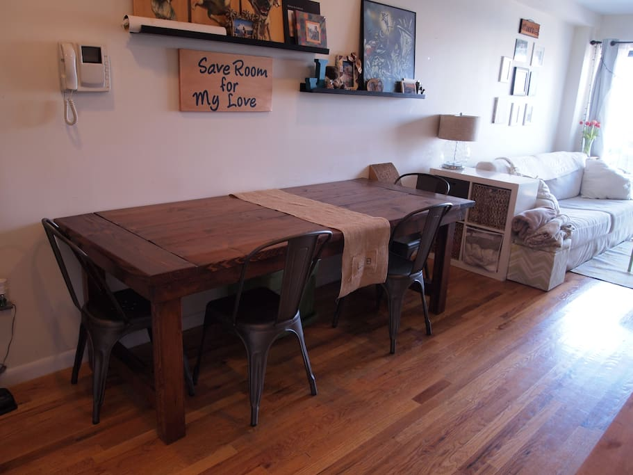Farmhouse table (built in the apartment). Can seat up to 10