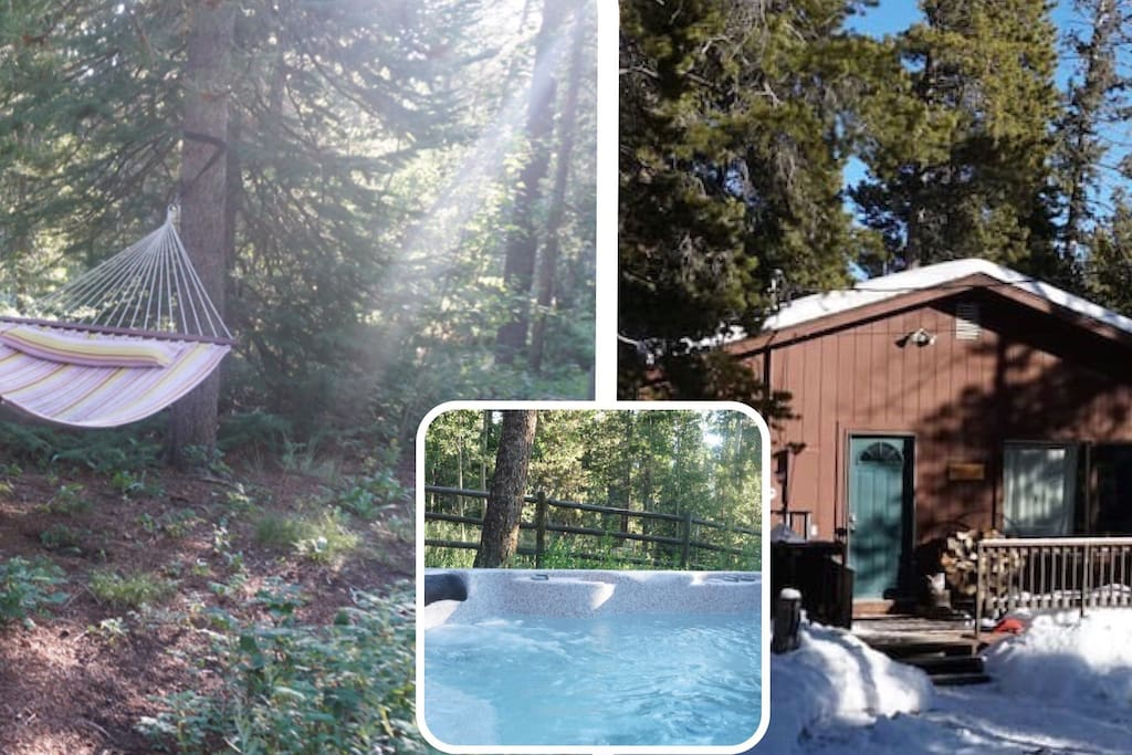 Hammocks, hot tub & porch, featuring aspen and pine and lots of wild plants!